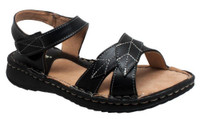 Shaboom Women's Comfort Sandal with Ankle Strap Faux Leather Summer Shoe 8740-BK