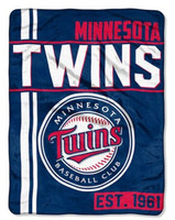 "The Northwest MLB Minnesota Twins Throw Blanket Plush Walk Off 46""x60"" MN Navy"