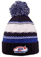 USA Hockey Blue Striped Beanie Cap Stocking Knit Hat Winter Sports Ski w/ Pom