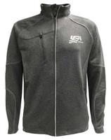 USA Hockey Men's Zip Gravity Performance Fleece Jacket Athletic Sweatshirt Gray