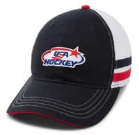 USA Hockey Side Stripe Logo Baseball Cap Hat Embroidered Logo Mesh Back Black