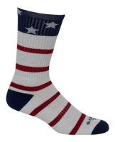 Cameo Men's Novelty USA Stars & Stripes Crew Socks, One Pair 7248-WHITE NAVY