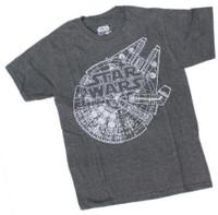 Star Wars Millennium Falcon Blueprint Schematics Sketch T-Shirt Tee SWSRBJFMSC