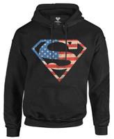 Superman Men's Hoodie Sweatshirt Super Hero DC Comics Star Stripes Warner Bros