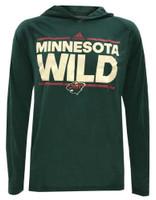 Adidas Men's Minnesota Wild National Hockey League L/S Hoody Tee Shirt Hoodie