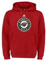 Adidas Men's Minnesota Wild National Hockey League Heavy Hoodie Shirt Hoody Red