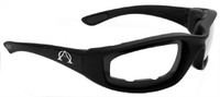 Alpha Omega 1 Foam Riding Sunglasses Motorcycle Bike Eyewear (Black-Clear)