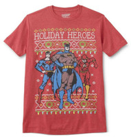 DC Comic Justice League Batman Holiday Heros Tee T-Shirt Adult REX-BATMANHOLIDAY