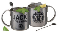 Jack Daniels Tennessee Moscow Mule Mug Set (2) Stainless Steel 16oz. Whiskey Bar