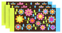 Floral Garden Printed Soft Beach Towel - Brown, 30 x 60 inches 3 PACK