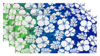 Hilasal Hibiscus Blue Printed Soft Beach Towel - White, 30 x 60 inches 3 PACK