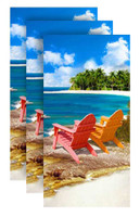 Private Beach Fiber-Reaction Printed Beach Towel - 30 x 60 in. 3 PACK