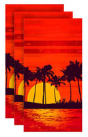 Tropical Evening Fiber-Reaction Printed Beach Towel - 30 x 60 in. 3 PACK