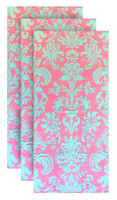 Hilasal Damask Printed Soft Beach Towel - Pink & Blue, 30 x 60 inches 3 PACK