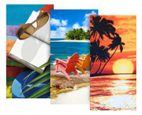 Hilasal 3 PACK Fiber-Reaction Printed Beach Towels 30x60 Beach Island Sunglasses