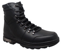 "RideTecs Men's 6"" Reflective Biker Lace Boot Reflective Trim Leather Black 9618"