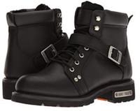 "RideTecs Men's 6"" Motorcycle Biker Lace Zipper Boot Soft Leather Black 9143"