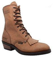 "AdTec Men's 9"" Packer Soft Toe Leather Lace Western Boots Crazy Horse Tan 9224"