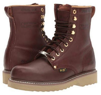 "AdTec Men's 8"" Steel Toe Farm Boot Full-Grain Leather Boots Redwood 1312"