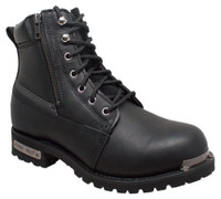 "RideTecs Men's 6"" Reflective Biker Lace Boot Reflective Trim Leather Black 9797"