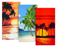 Hilasal 3 PACK Fiber-Reaction Printed Beach Towels 30x60 Island Palm Tropic Eve