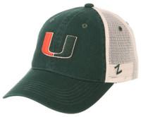 "Zephyr University of Miami ""Split U"" Hat Baseball Cap College Adjustable Mesh"