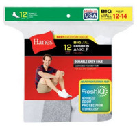 Hanes Men's White Big & Tall Size 12-14 Cushion Ankle Socks (Pack of 12) White
