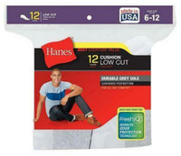 Hanes Men's Cushion Low Cut Socks FreshIQ Wicking Size 6-12 Dozen White or Black