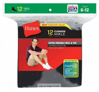 Hanes Men's Cushion Ankle Socks FreshIQ Wicking Size 6-12 (Dozen) White or Black