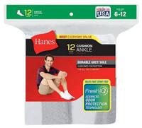 Hanes Men's Cushion Ankle Socks FreshIQ Wicking Size 6-12 (Dozen) White or Black