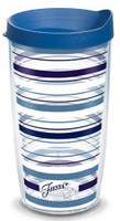 Tervis 16 oz Fiesta Lapis Stripes Tumbler Mug Travel Cup w/ Lid Dishwasher Safe