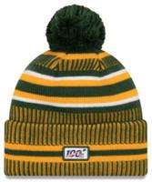 New Era 2019 NFL Green Bay Packers Cuff Knit Hat Home OT Beanie Stocking Cap Pom