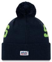 New Era 2019 NFL Seattle Seahawks Cuff Knit Hat Road OTC Beanie Stocking Cap Pom