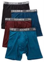Hanes Mens Ultimate Comfort Flex Fit Boxer Briefs Underwear (4 Pk) Multicolor