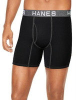 Hanes Mens Ultimate Comfort Flex Fit Boxer Briefs Underwear (4 Pk) Black/Gray