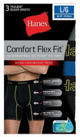 Hanes Mens Comfort Flex Fit Boxer Briefs Sport Mesh Underwear (3 Pk) Black/Gray