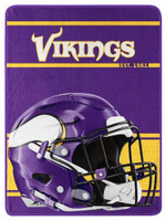 "Northwest NFL 46""x60"" Throw Blanket Football Microfleece Run - Minnesota Vikings"