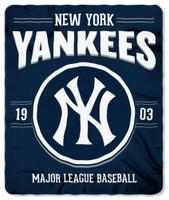 "Northwest MLB Fleece 50""x60"" Throw Blanket Baseball SouthPaw - New York Yankees"