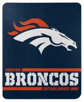 "Northwest NFL 50""x60"" Throw Blanket Football Split Wide - Denver Broncos"