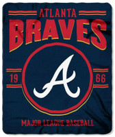 "Northwest MLB Fleece 50""x60"" Throw Blanket Baseball SouthPaw - Atlanta Braves"
