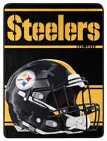 "Northwest NFL 46""x60"" Throw Blanket Football Micro Run - Pittsburgh Steelers"