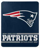 "Northwest NFL 50""x60"" Throw Blanket Football Split Wide - New England Patriots"
