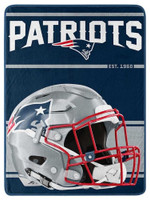 "Northwest NFL 46""x60"" Throw Blanket Football Micro Run - New England Patriots"