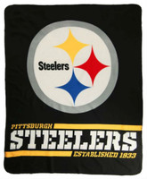 "Northwest NFL 50""x60"" Throw Blanket Football Split Wide - Pittsburgh Steelers"