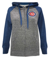 New Era Womens MLB Chicago Cubs Glitter Logo Zip Hoodie Sweatshirt 7773L-HHQZ