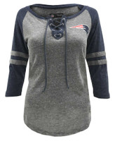 New Era Womens NFL New England Patriots Lace-Up Tee Jersey T-Shirt Stripe Sleeve