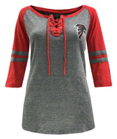 New Era Womens NFL Atlanta Falcons Lace-Up Tee T-Shirt Stripe Sleeve 70021L