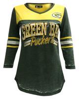New Era Women's NFL Green Bay Packers V-Neck T-Shirt 3/4 Sleeve Tee 76001LGD