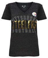 New Era Womens NFL Pittsburgh Steelers V-Neck T-Shirt Sequin Tee 70021L 11999954