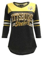 New Era Women's NFL Pittsburgh Steelers V-Neck T-Shirt 3/4 Sleeve Tee 76001LGD